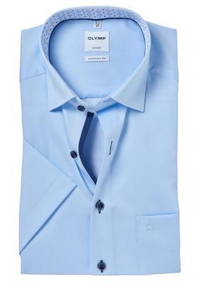 OLYMP Comfort Fit, overhemd korte mouw, lichtblauw mini structuur (contrast)