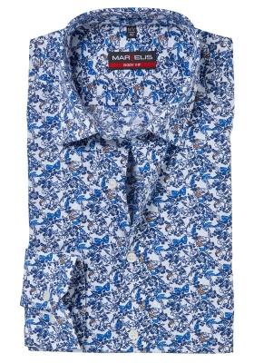 MARVELIS Body Fit overhemd, blauw klein bloemetjes dessin