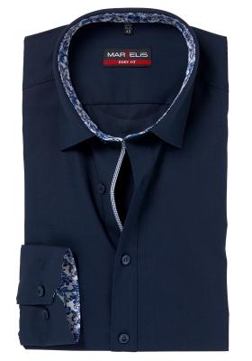 MARVELIS Body Fit overhemd, donkerblauw (gebloemd contrast)