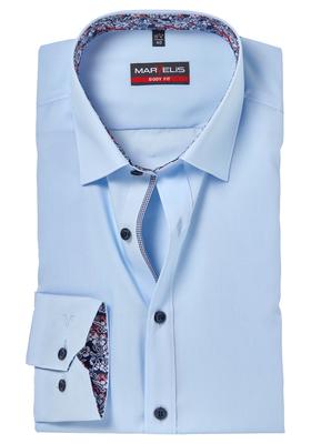 MARVELIS Body Fit overhemd, lichtblauw (gebloemd contrast)