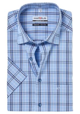 MARVELIS Comfort Fit, overhemd korte mouw, lichtblauw geruit