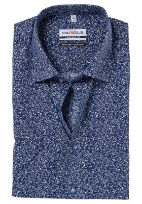 MARVELIS Comfort Fit, overhemd korte mouw, donkerblauw bloemetjes dessin