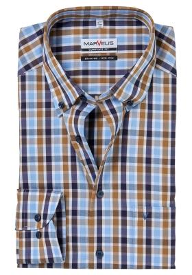 MARVELIS Comfort Fit, overhemd, blauw-beige geruit