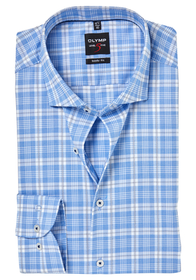 OLYMP Level 5 Body Fit overhemd, blauw geruit