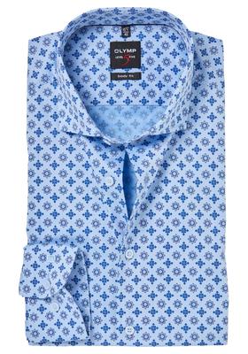 OLYMP Level 5 Body Fit overhemd, blauw structuur dessin