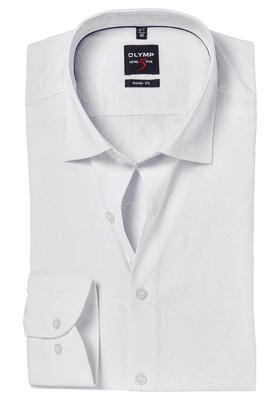 OLYMP Level 5 Body Fit overhemd, wit ton-sur-ton dessin
