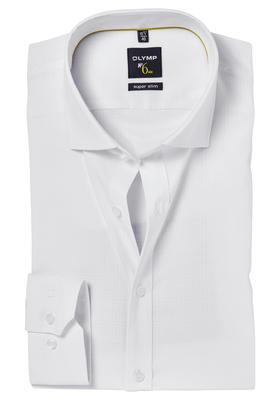 OLYMP No. 6 Six, Super Slim Fit overhemd, wit ingeweven ruit