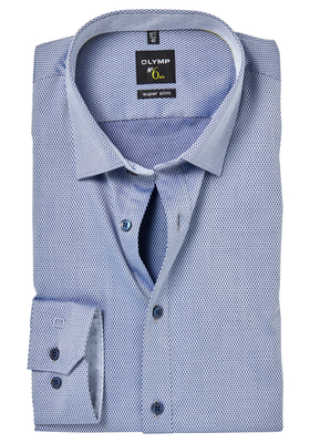 OLYMP No. 6 Six, Super Slim Fit overhemd mouwlengte 7, blauw 2-ply structuur (contrast)