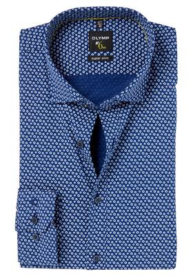OLYMP No. 6 Six, Super Slim Fit overhemd mouwlengte 7, blauw structuur dessin