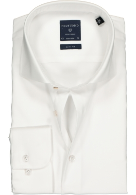 Profuomo Slim Fit overhemd, mouwlengte 7, wit fine twill