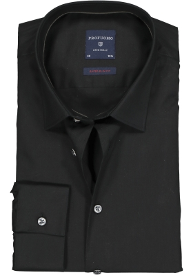 Profuomo Super Slim Fit stretch overhemd, zwart