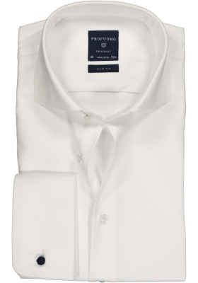 Profuomo Slim Fit overhemd, wit 2-ply twill met dubbele manchet