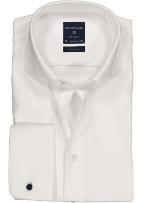 Profuomo Originale slim fit overhemd, dubbele manchet 2-ply twill, wit