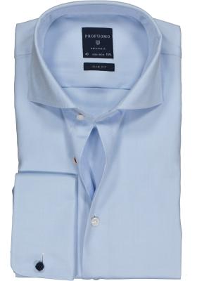 Profuomo Slim Fit overhemd, lichtblauw 2-ply twill met dubbele manchet
