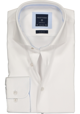Profuomo Slim Fit overhemd, wit 2-ply twill (contrast)
