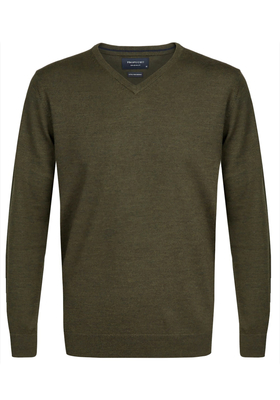 Profuomo Originale slim fit trui wol, heren pullover V-hals, army groen
