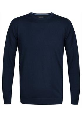 Profuomo Originale slim fit trui wol, heren pullover O-hals, navy blauw
