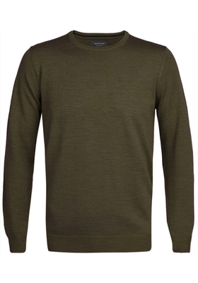 Profuomo Originale Slim Fit, heren trui wol, army groen