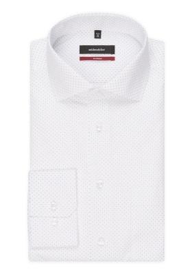 Seidensticker Modern Fit overhemd, wit-blauw gestipt