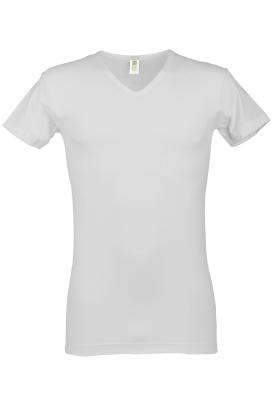Alan Red stretch T-shirt Baltimora bamboo,  V-hals, wit
