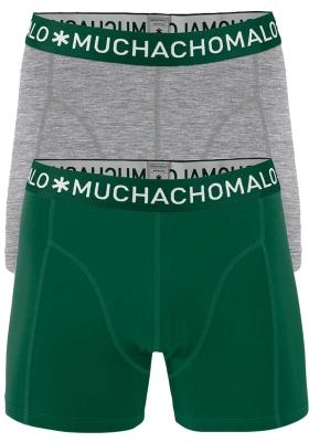 Muchachomalo boxershorts, 2-pack, solid groen en grijs