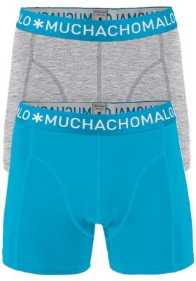 Muchachomalo boxershorts, 2-pack, solid grijs en aqua