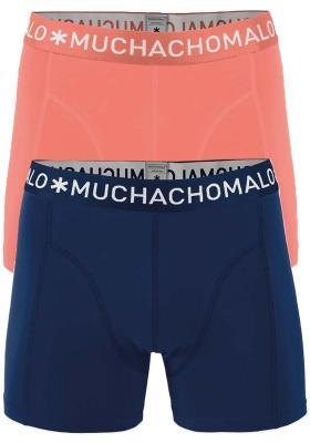 Muchachomalo boxershorts, 2-pack, solid zalm roze en blauw