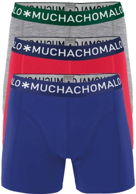 Muchachomalo boxershorts, 3-pack, solid rood, grijs en blauw