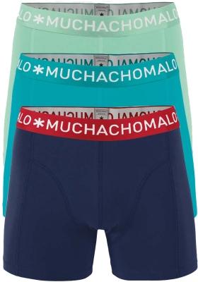 Muchachomalo boxershorts, 3-pack, solid lichtgroen, aqua en paarsblauw