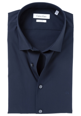 Calvin Klein Slim Fit 2 ply, stretch overhemd, midnight blue