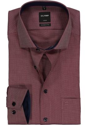 OLYMP Modern Fit overhemd, bordeaux rood structuur (blauw contrast)