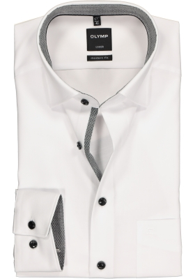 OLYMP Modern Fit overhemd, wit (zwart contrast)