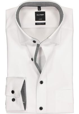 OLYMP Modern Fit mouwlengte 7, wit (zwart contrast)
