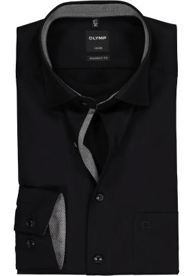 OLYMP Modern Fit overhemd, zwart (contrast)