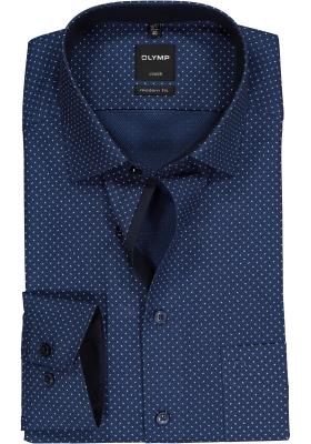 OLYMP Modern Fit overhemd, blauw structuur dessin (contrast)