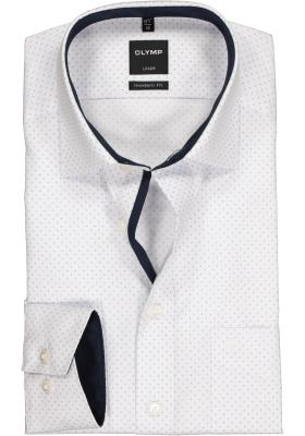 OLYMP Modern Fit overhemd, wit structuur met lichtblauw dessin (contrast)