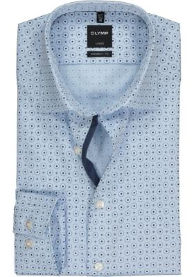 OLYMP Modern Fit overhemd, lichtblauw structuur dessin