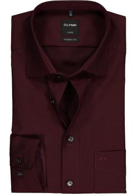 OLYMP Modern Fit overhemd, bordeaux rood structuur (contrast)