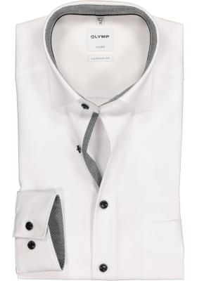 OLYMP Comfort Fit overhemd, wit (zwart/grijs contrast)