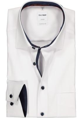 OLYMP Comfort Fit overhemd, wit structuur (blauw contrast)