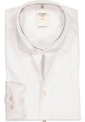 OLYMP Level 5 Smart Business, Body Fit overhemd, wit ingeweven dessin