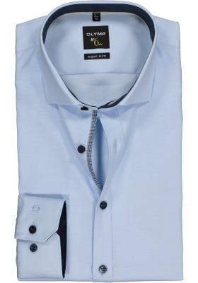 OLYMP No. 6 Six, Super Slim Fit overhemd, lichtblauw structuur (contrast)
