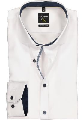 OLYMP No. 6 Six, Super Slim Fit overhemd mouwlengte 7, wit structuur (contrast)
