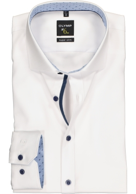 OLYMP No. 6 Six, Super Slim Fit overhemd mouwlengte 7, wit (blauw contrast)