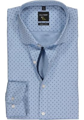 OLYMP No. 6 Six, Super Slim Fit overhemd, lichtblauw herringbone (contrast)