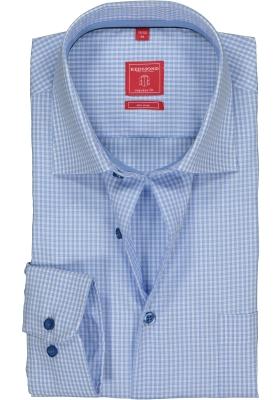 Redmond Regular Fit overhemd, lichtblauw geruit (contrast)