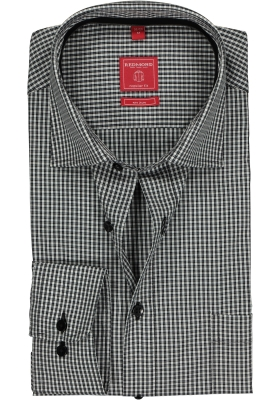 Redmond Regular Fit overhemd, zwart-wit geruit (contrast)