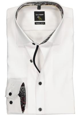 OLYMP No. 6 Six, Super Slim Fit overhemd, wit twill (grijs contrast)