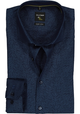 OLYMP No. 6 Six, Super Slim Fit overhemd, blauw jacquard dessin