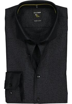 OLYMP No. 6 Six, Super Slim Fit overhemd, zwart jacquard dessin
